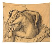 After The Bath .woman Drying Her Hair Tapestry