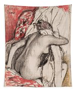 After The Bath.seated Woman Drying Herself Tapestry