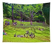 Afternoon In The Park With Friends Tapestry