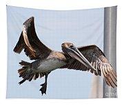 Airborne Brown Pelican Tapestry