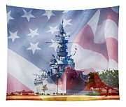 Battleship Alabama And Flag Tapestry