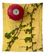Alarm Bell And Vines Yellow Wall Tapestry