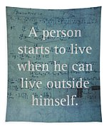 Albert Einstein Quote Person Starts To Live Science Math Formula On Canvas Tapestry