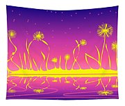 Alien Fire Flowers Tapestry