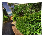 Alley With Green Plants Tapestry