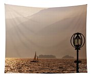 Alpine Lake With A Sailing Boat Tapestry