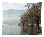 Alpine Lake With Trees Tapestry