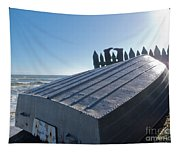 Aluminum Fishing Boat And Boots Drying On Fence Tapestry