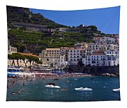 Amalfi Beach And Town Tapestry