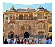 Amber Fort Entrance To Living Quarters - Jaipur India Tapestry