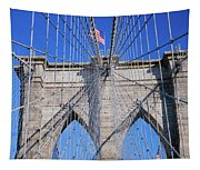 American Flag Flying Over Brooklyn Tapestry