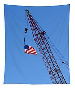 American Flag On Construction Crane Tapestry