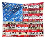 American Flag Recycled License Plate Art Tapestry