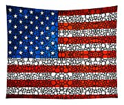 American Flag - Usa Stone Rock'd Art United States Of America Tapestry