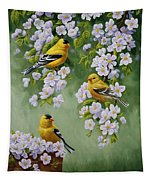 American Goldfinches And Apple Blossoms Tapestry