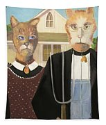 American Gothic Cat Tapestry