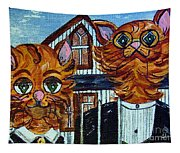 American Gothic Cats - A Parody Tapestry