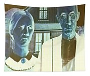 American Gothic In Negative Tapestry