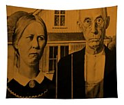 American Gothic In Orange Tapestry