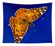 American Lady Butterfly Blue Square Tapestry