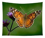 American Lady Butterfly With Green Background Tapestry