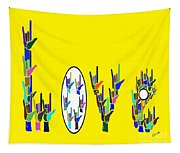 American Sign Language Love Hands Tapestry