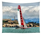 America's Cup And Alcatraz Ll Tapestry