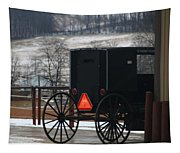 Amish Buggy In Winter Tapestry
