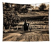 Amish Buggy On A Country Road Tapestry