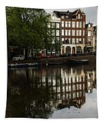 Amsterdam Canal Houses In The Rain Tapestry