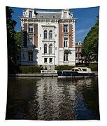 Amsterdam Canal Mansions - Bright White Symmetry  Tapestry