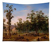 An Aboriginal Encampment Near The Adelaide Foothills Tapestry