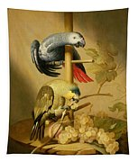 An African Grey And An Orange Winged Amazon Parrot On  A Perch With Grapes Tapestry