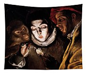 An Allegory With A Boy Lighting A Candle In The Company Of An Ape And A Fool Tapestry