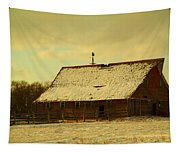 An Old Barn Just After An Early Spring Snow In Keene North Dakota  Tapestry