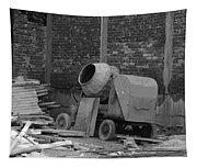 An Old Cement Mixer And Construction Material Tapestry