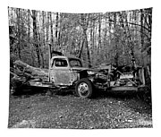 An Old Logging Boom Truck In Black And White Tapestry
