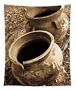 Ancient Pottery In Sepia Tapestry