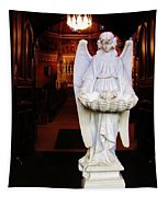 Angel Statue Offers Holy Water Tapestry