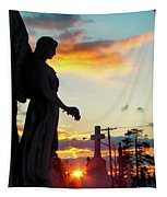Angel Silhouette In Burst Of Colors Tapestry
