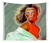 Angela Leather Red Fractal Tapestry