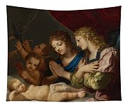 Angles Adoring The Sleeping Christ Tapestry