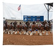 Anheuser Busch Clydesdales Pulling A Beer Wagon Usa Rodeo Tapestry