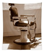 Antiquated Barber Chair In Sepia Tapestry