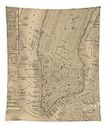 Antique Boston Map 1842 Tapestry