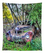 Antique Car With Trees In Windshield Tapestry