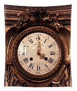 Antique Clock In Sepia Tapestry