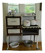 Antique Estate Stove With Cookware Tapestry