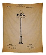 Antique Lamp Post Patent Tapestry