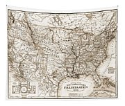 Antique Map 1853 United States Of America Tapestry